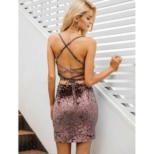 🎉JUST IN! Tie-Back Bodycon Velvet Slip Dress